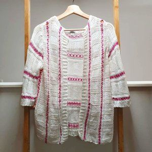 MEREDITH Cotton Chunky Knit White Pink Cardigan